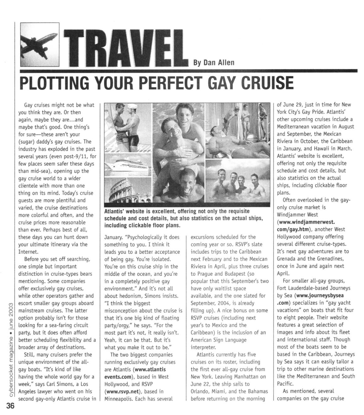 cybersocket | jun 2003 | gay cruises